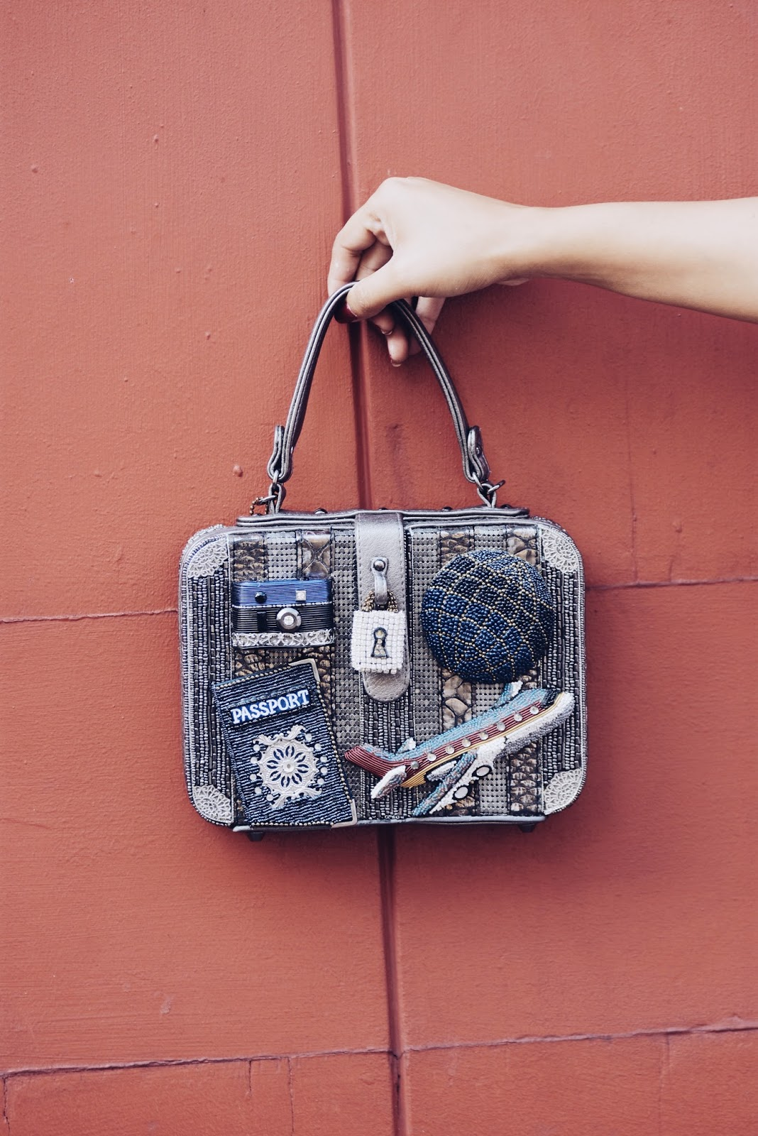 Travel Theme Top-Handle Handbag ft. Mary Frances by Mari Estilo.