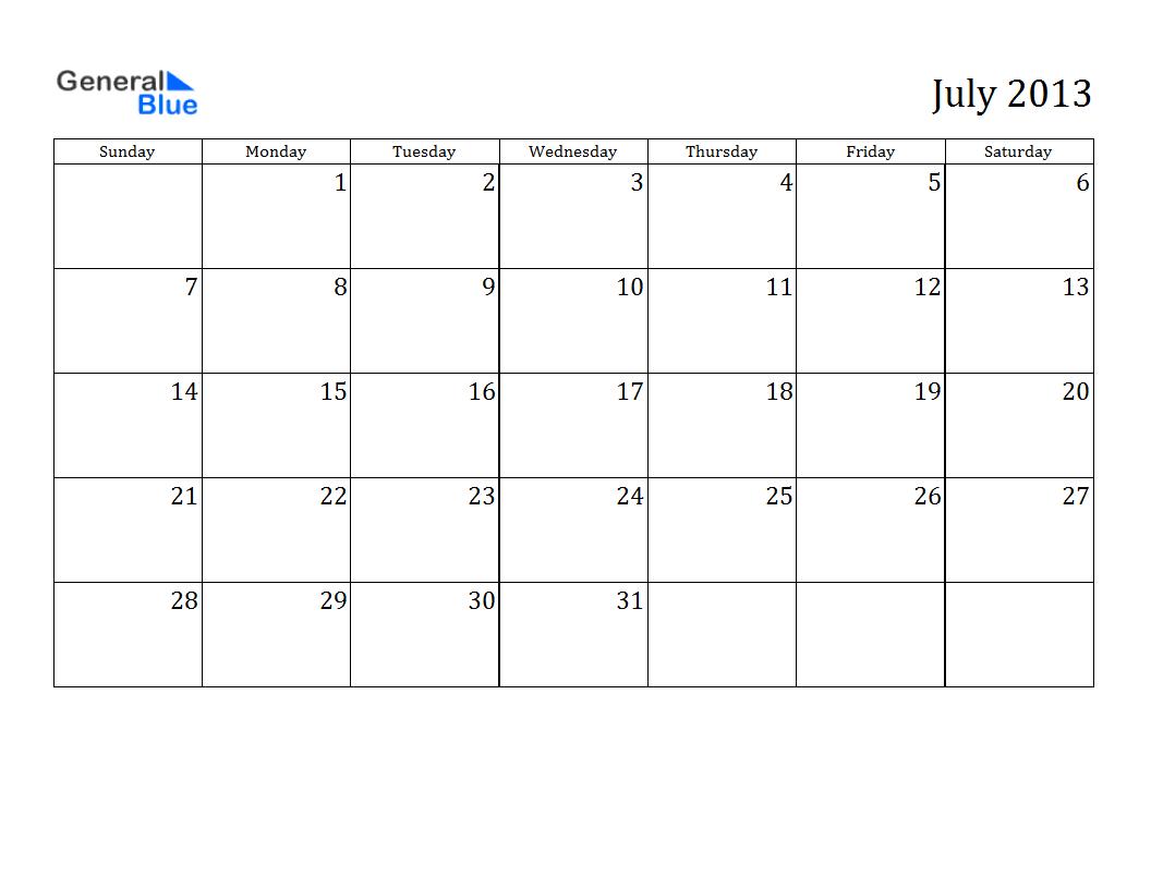 Free Printable Calendar Free Printable Calendar July