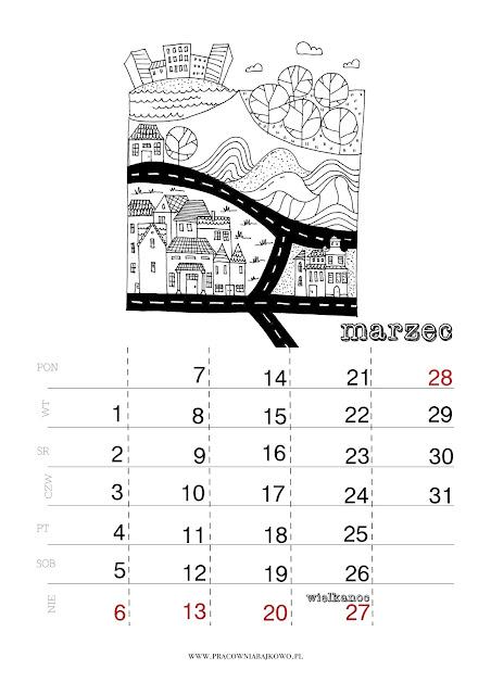 *kalendarz do druku* miesiąc MARZEC 2016