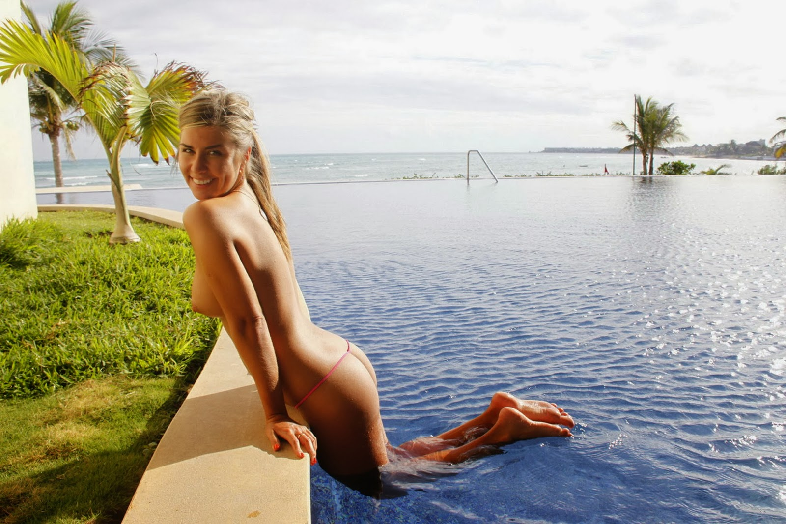 Basking in the sun in a nude shade bikini
