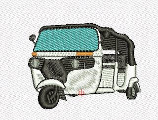 diseño de bordado motocarro blanco