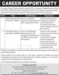 Foundation Power Company Dharki Limited Jobs 2016