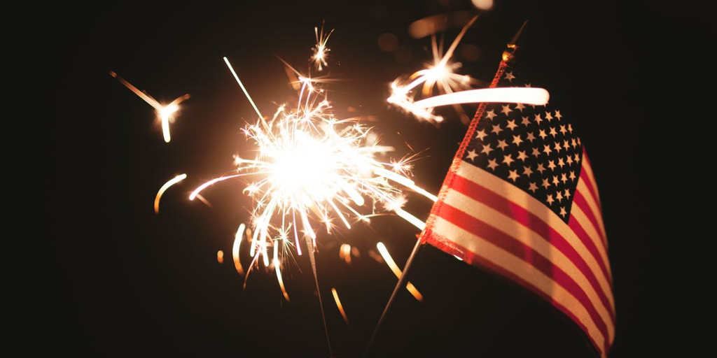 Flag with fireworks