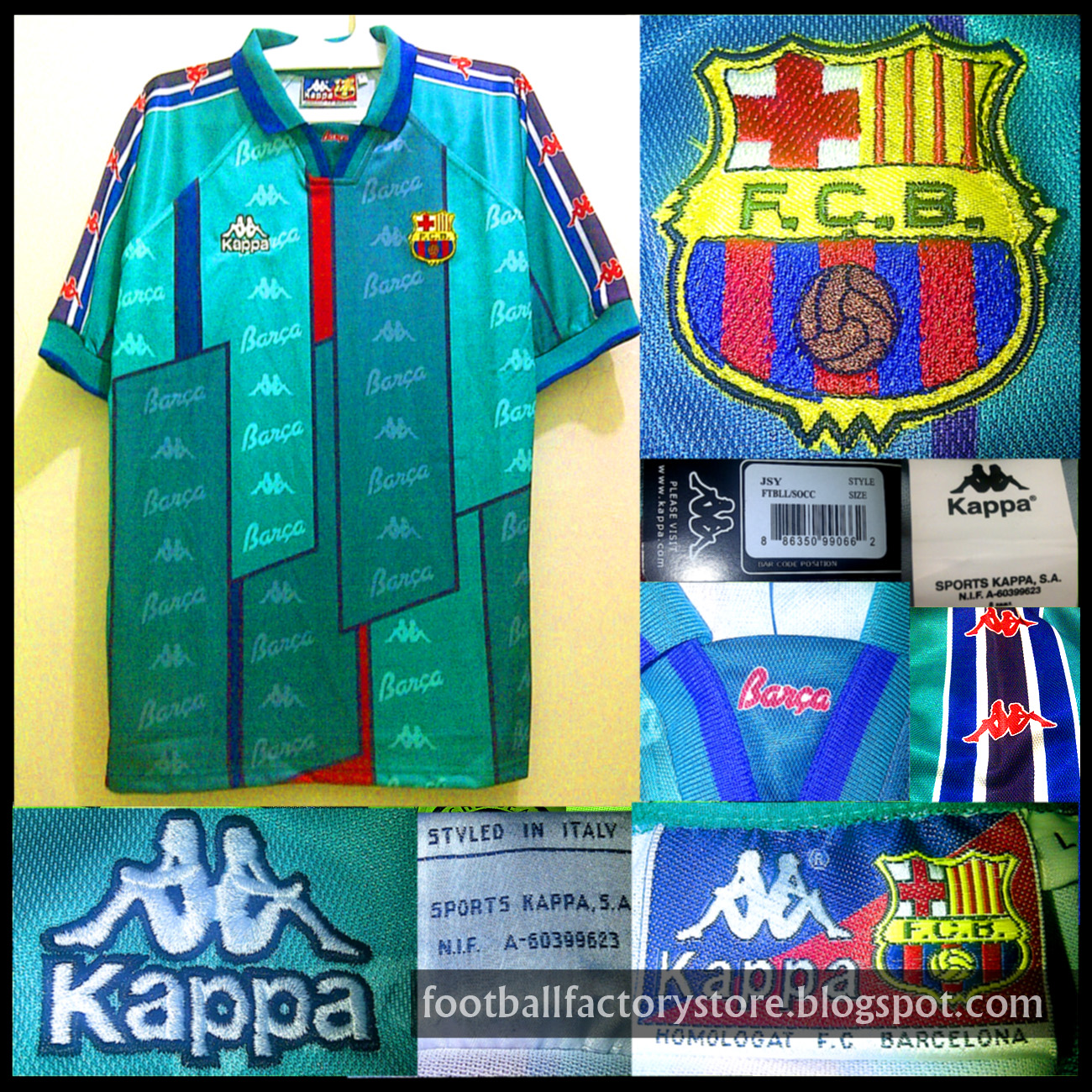new arrival aa7a2 490ae Barcelona Away 1995-97 jersey retro ~ Football Factory Store