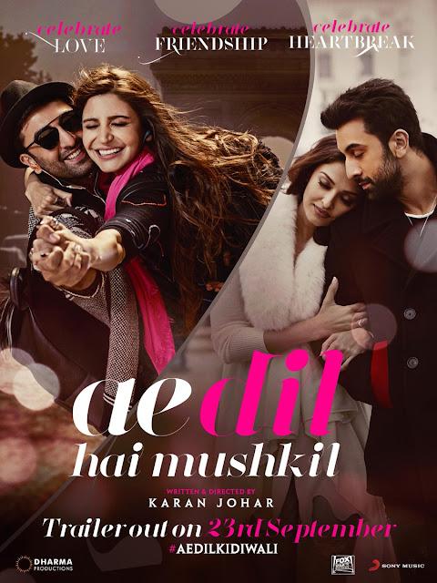 Ae Dil Hai Mushkil, Movie Poster, Ranbir Kapoor, Anushka Sharma, Aishwarya Rai