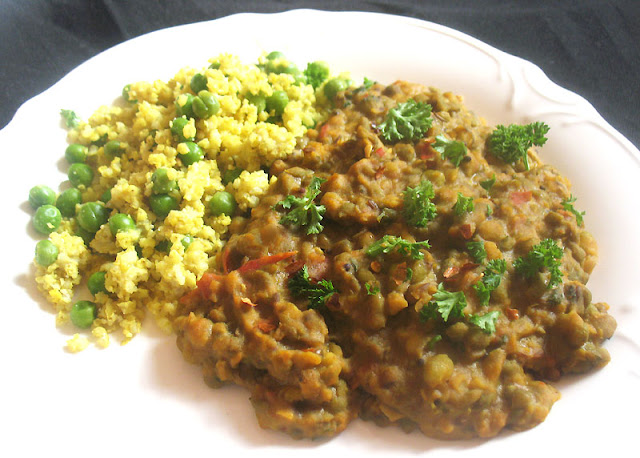 Mung Beans with a Creamy Tomato Coconut Milk Sauce