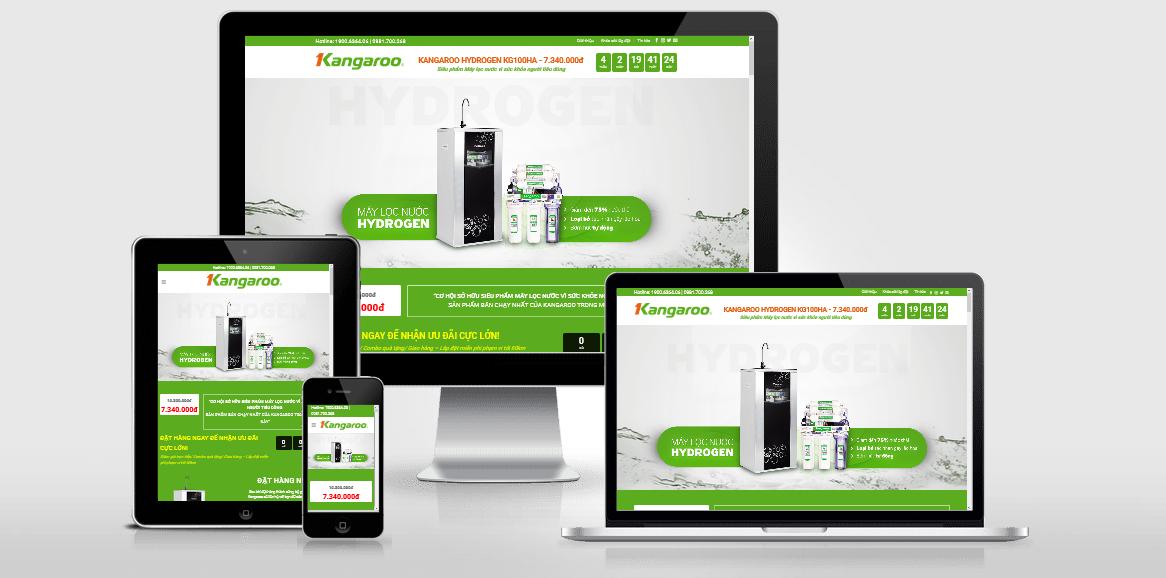 Theme WordPress landing page giới thiệu máy lọc nước Kangaroo Hydrogen