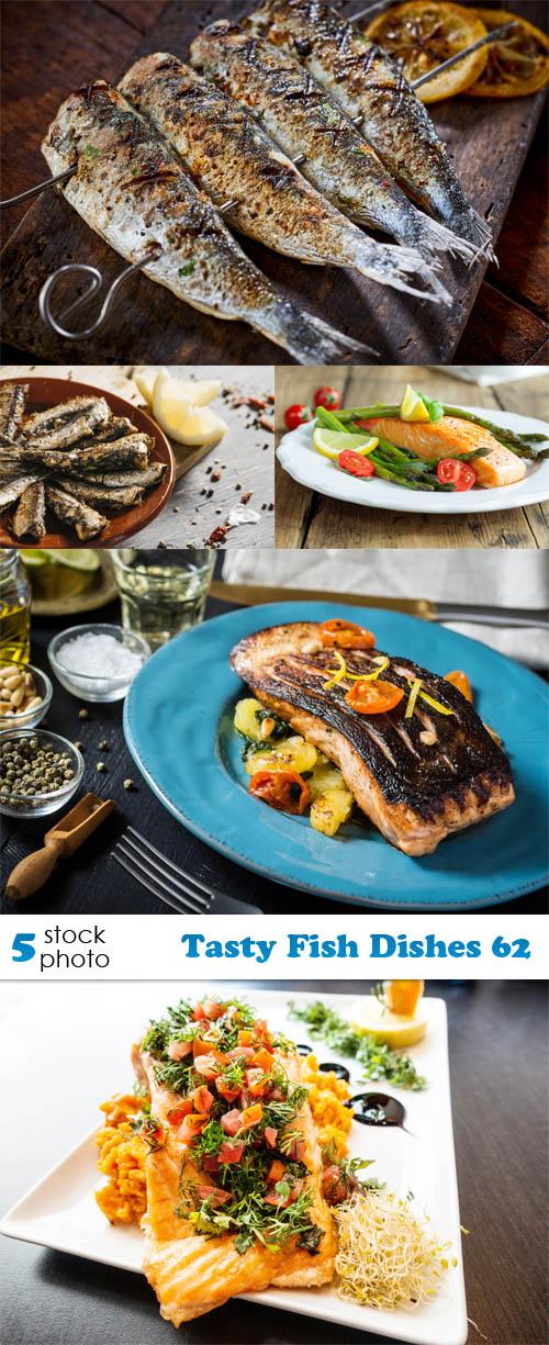 مجموعة صور للسمك طيب المذاق على أطباق