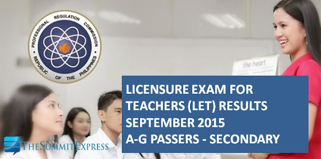 LET Results September 2015 A-G Passers Secondary Alphabetical List