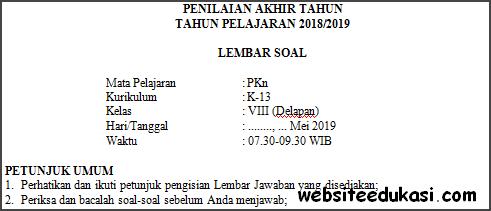 Soal PAT / UKK PKn Kelas 8 Kurikulum 2013 Terbaru