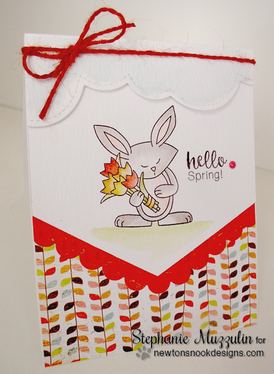 Hello Spring Card by Stephanie Muzzulin | Hello Spring Stamp set by Newton's Nook Designs #newtonsnook #spring #bunny
