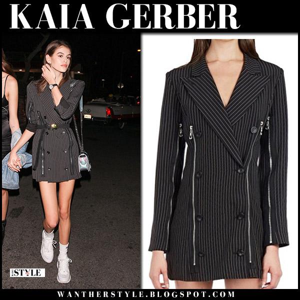 Kaia Gerber in black pinstripe blazer zipper mini dress model style june 21
