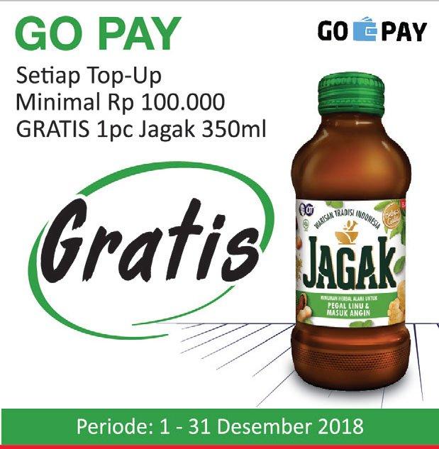 #Alfamidi - Promo TopUp GOPAY Min 100 K Gratis 1PC JAGAK 350ml (s.d 31 Des 2018)