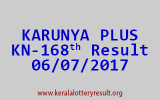 KARUNYA PLUS Lottery KN 168 Results 6-7-2017