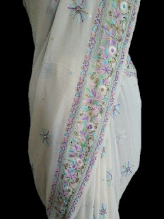 Parsi Work Saree with Chikankari Embroidery