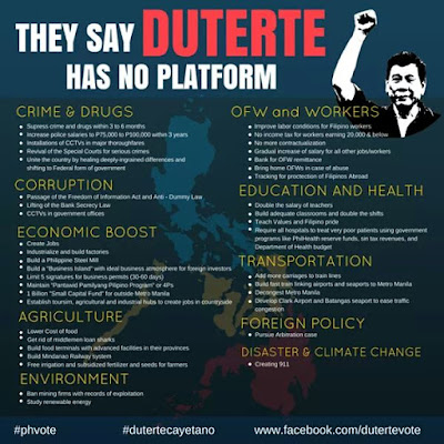 Duterte Platform of Government if elected President of the Philippines