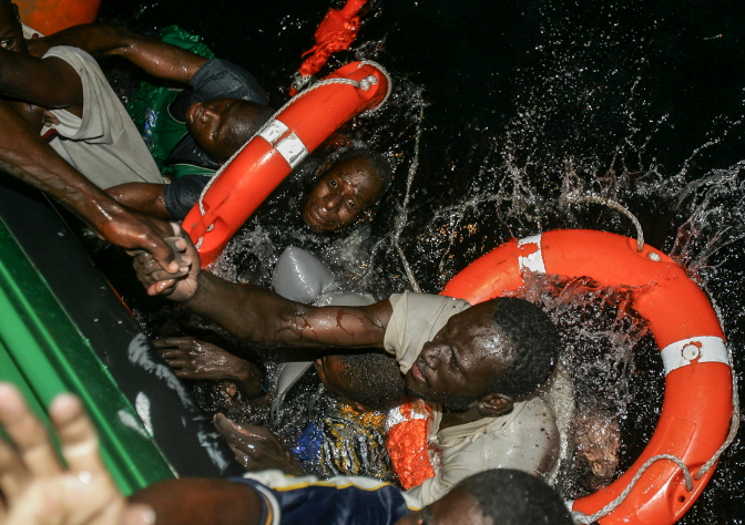 corpses drowned african migrant libyan sea