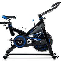 "Merax S306 Indoor Cycling Bike Cycle Trainer Spin Bike, with 17"" 22 lb flywheel, felt pads, belt drive, adjustable resistance, push-down brake, 4-way adjustable seat, adjustable handlebars"