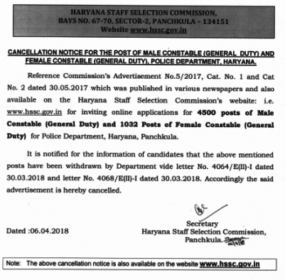 HSSC Constable 2017 Exam Cancelled  Check Cancellation Notice