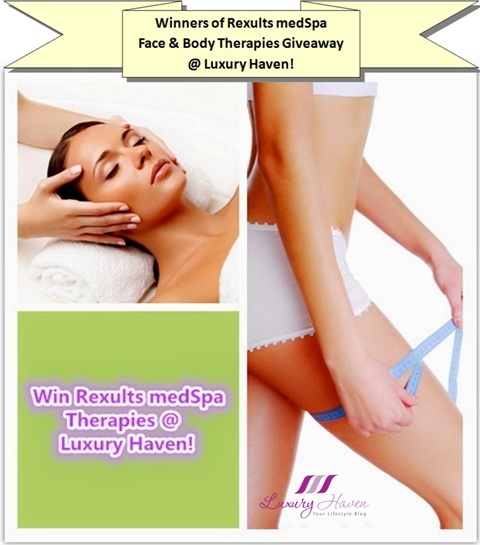 rexults medspa facial body therapies giveaway winners