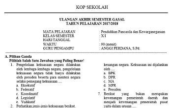 Download Soal Ujian Semester Ganjil Ppkn Kelas X Kurikulum 2013 Gurungeblog