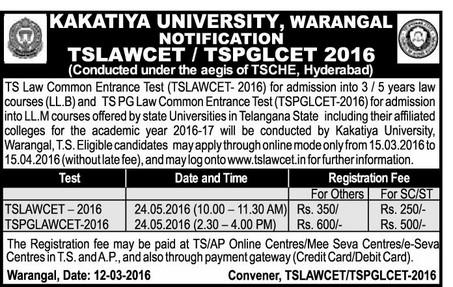 TS PGLCET,Telangana PG LAWCET,Apply Online