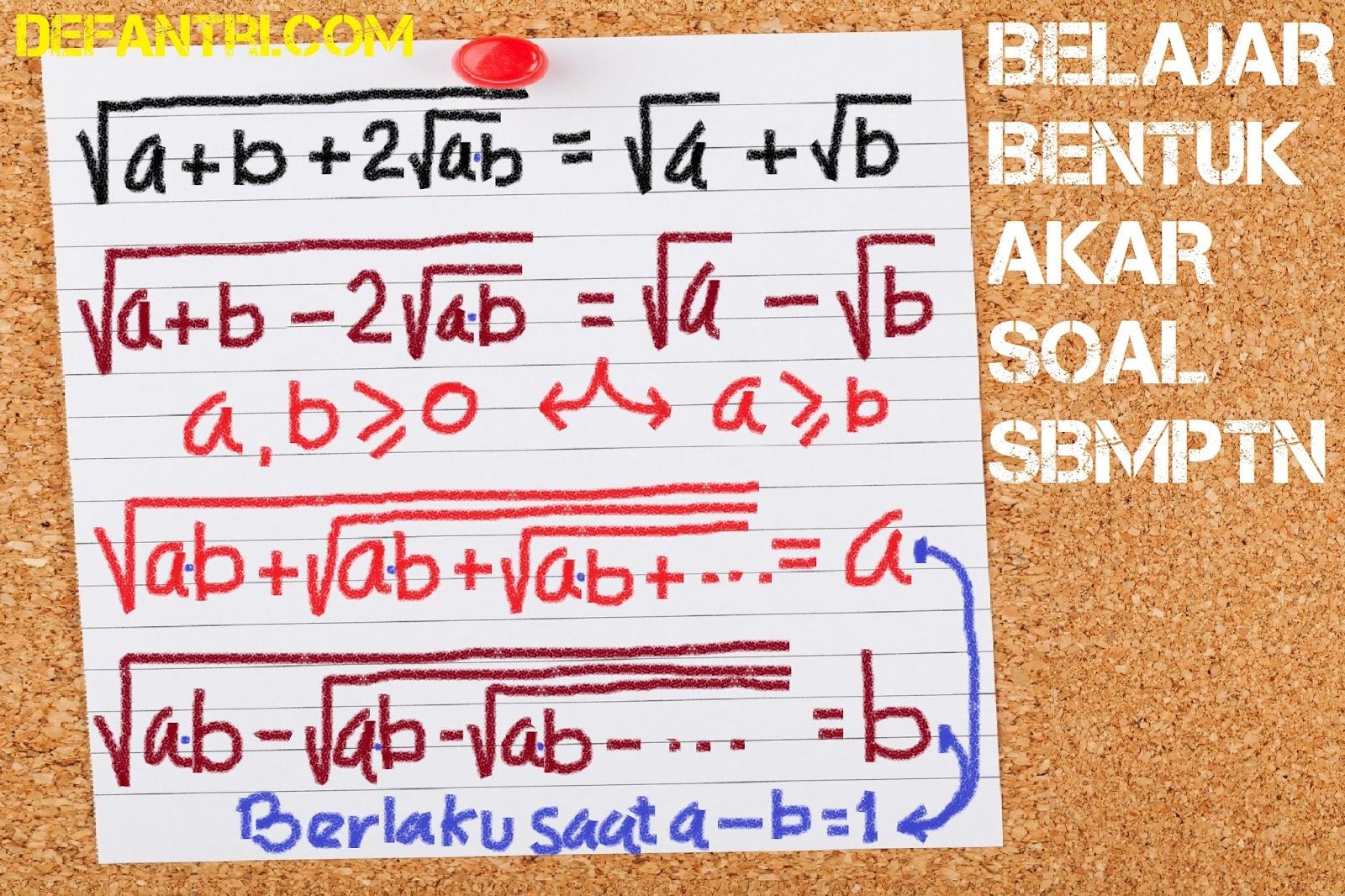 Matematika Dasar SBMPTN Tentang Bentuk Akar [Soal dan Pembahasan]