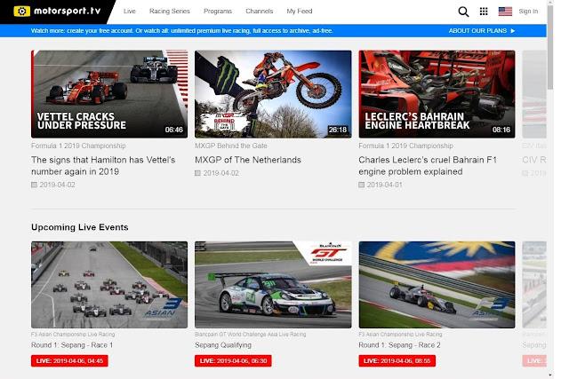 Motorsports live streams
