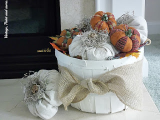 Vintage, Paint and more... pumpkins made from drop cloth material in an upcycled orchard basket with burlap ribbon