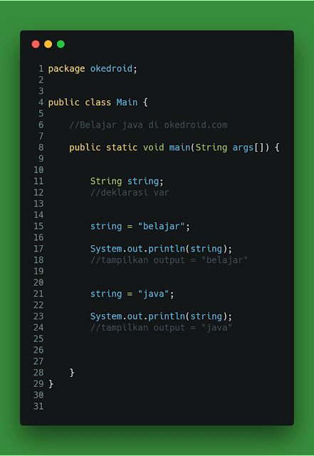 Contoh code string referensi objek dengan nilai baru Java