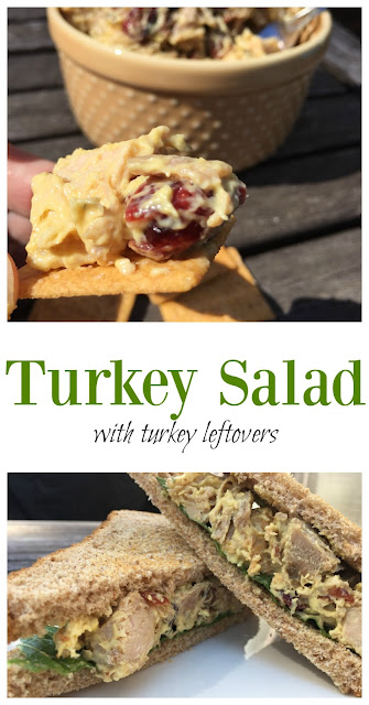 Turkey Salad recipe made with leftover turkey - perfect for thanksgiving leftovers