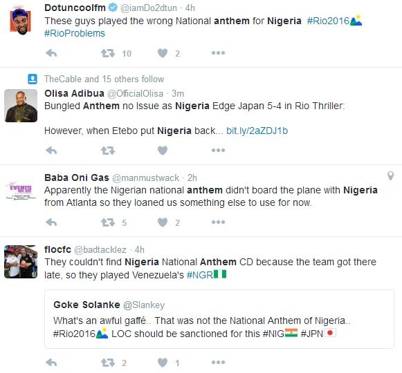 Nigerians angry as Rio Olympics plays wrong national anthem for U-23