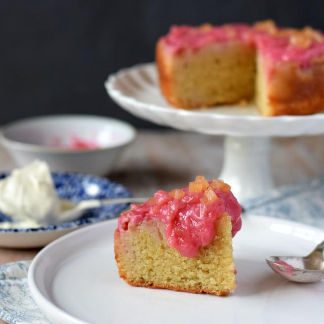 Lightly spiced Rhubarb & Ginger Cake
