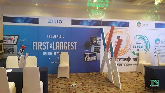 Thi công khung backdrop và chữ X cho ZINIO