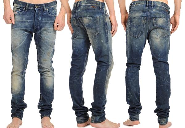 Caustic washed jeans
