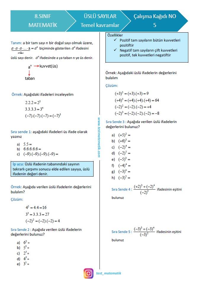 8 Sinif Uslu Sayilar Calisma Kagidi 1 Test Matematik