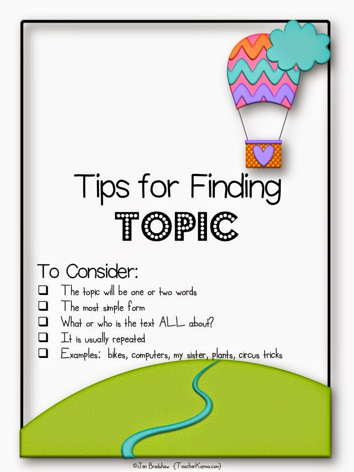 How to find the topic of text.  Main idea resources for free!  TeacherKarma.com