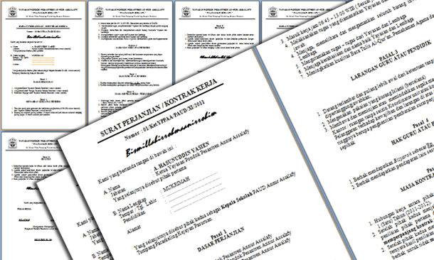 File Pendidikan Contoh Surat Perjanjian Kontrak Kerja Guru Paud Format Microsoft Word