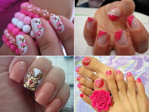 How to Make Nails Decorated with Flowers Walkthrough