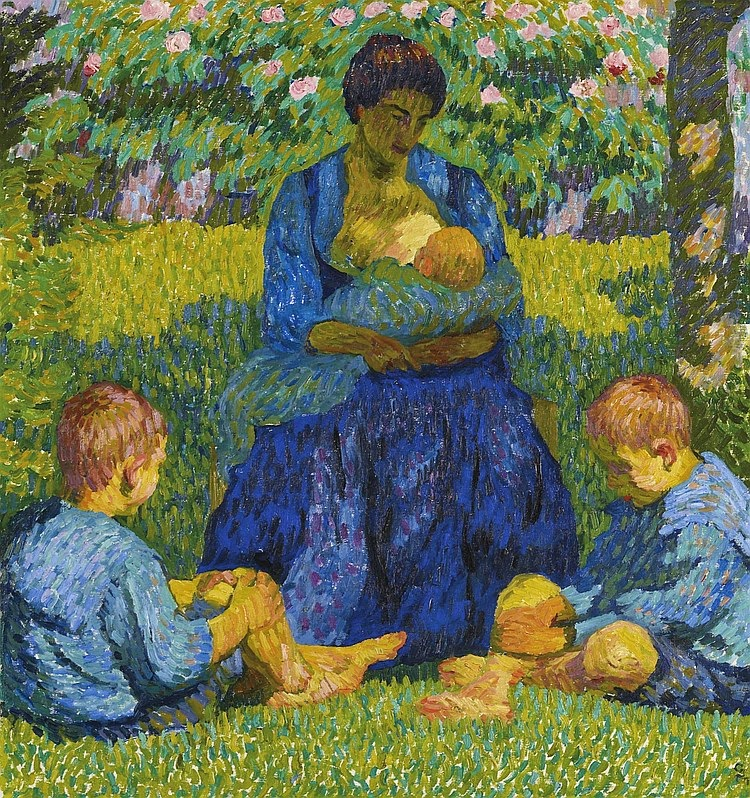 Paintings of spring maternity in painting