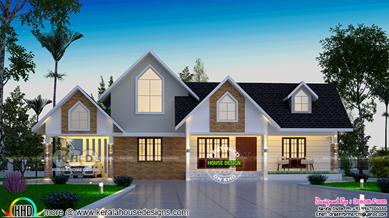 4 bedroom single floor European model home design
