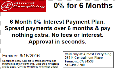 Coupon 6 Month Interest Free Payment Plan August 2016