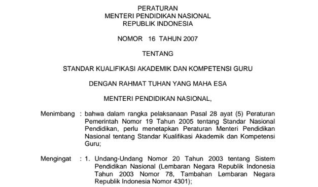 Permendiknas No 16 tahun 2007 tentang Standar Kualifikasi Akademik dan Kompetensi Guru