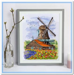"""Скачать схему вышивки 1105 """"Ветряная мельница.Голландия"""" Овен"""