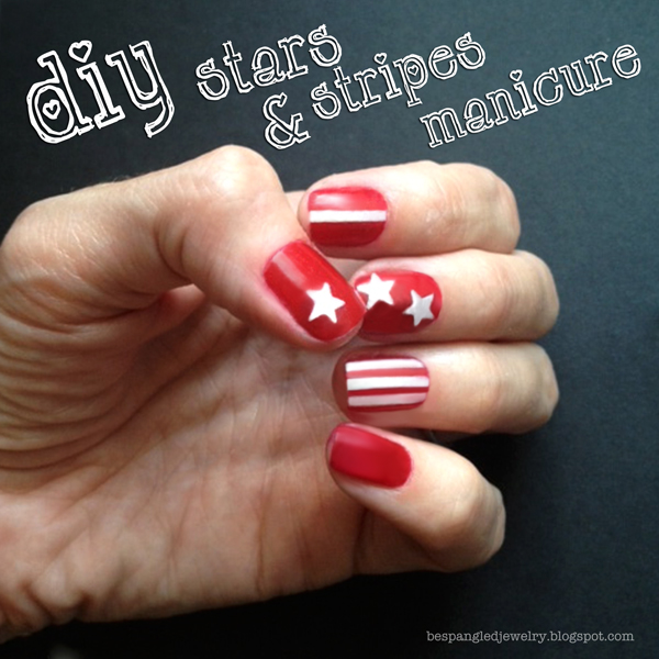 DIY stars and stripes patriotic manicure
