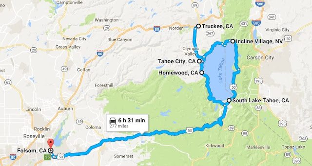Map of Folsom-Tahoe-Truckee trip