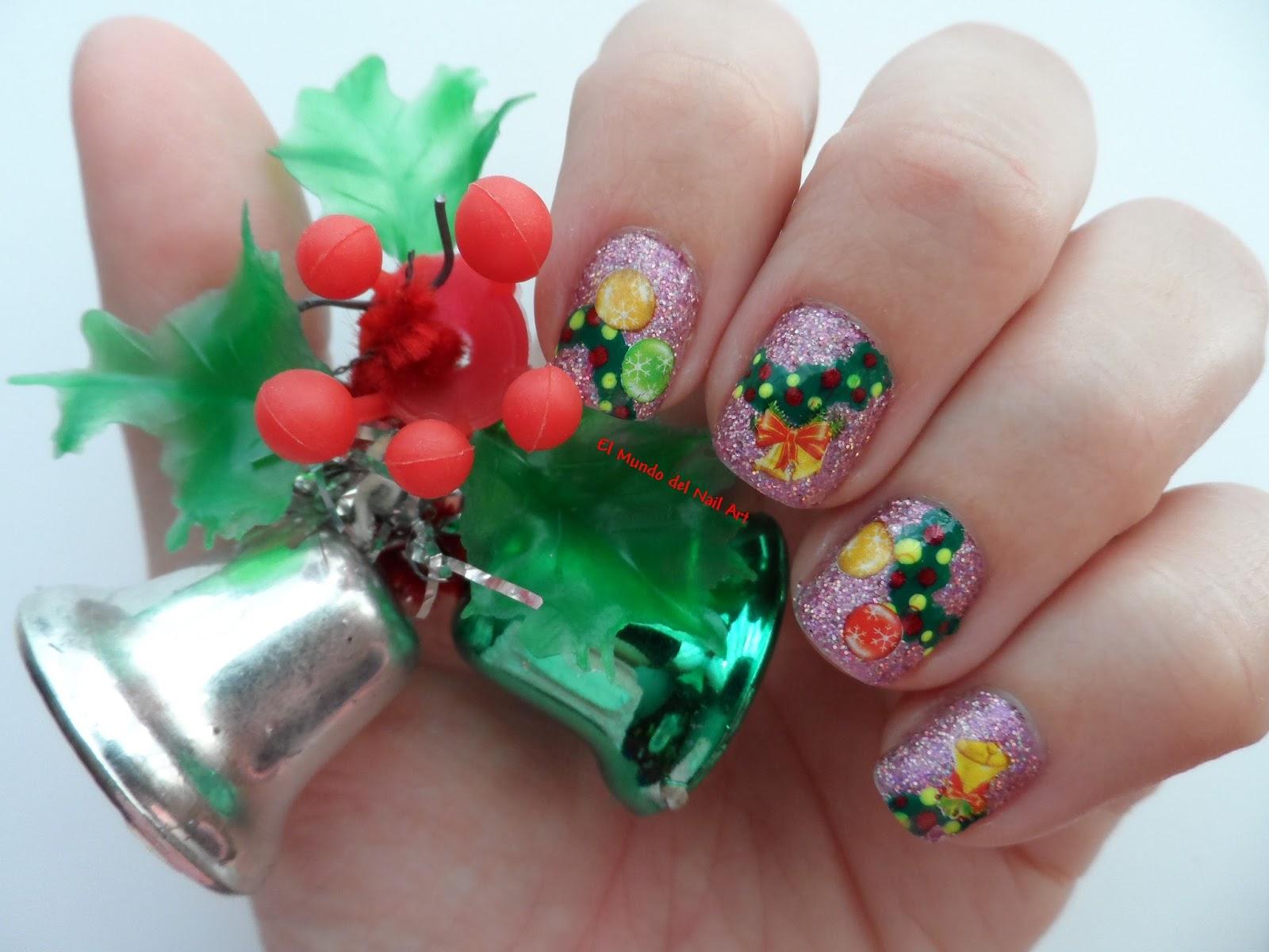 El Mundo del Nail Art: Manicura Corona de Navidad #RetoNapNavidad