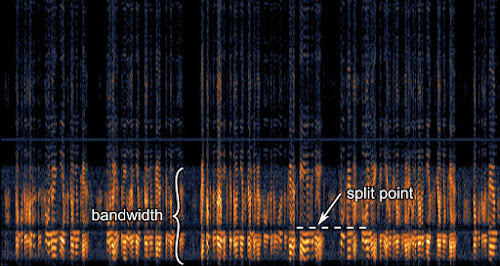 [Image: A spectrogram showing a narrow band of speech-like harmonics, but with a constant dip in the middle of the band.]