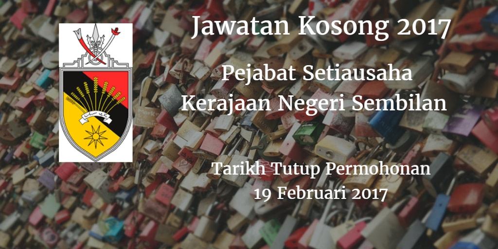 Jawatan Kosong Pejabat Setiausaha Kerajaan Negeri Sembilan 19 Februari 2017