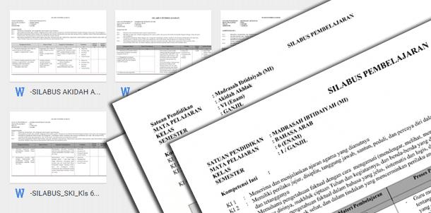Silabus MI Mapel PAI dan Bahasa Arab Kurikulum 2013 Kelas 1 2 3 4 5 6 Revisi Terbaru